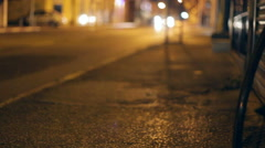 Street in South Tel-Aviv at night, long shot, shallow focus - stock footage