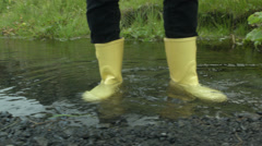Yellow Boots Stand in Stream ICELAND Stock Footage
