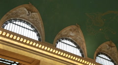 Grand terminal interior drawings on the ceiling Stock Footage