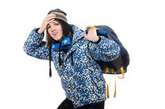 Stock Photo of Young optimistic girl with rucksack isolated on white
