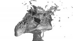 Close-up of liquid metal splash in slow motion - on white, with alpha (FULL HD) Stock Footage