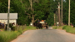Amish People Traveling in a Rural Area - stock footage