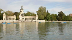 Buen Retiro Park in Madrid Stock Footage