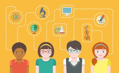 Group of kids with education icons - stock illustration