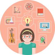 Genius girl and icons of her various interests - stock illustration