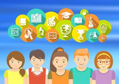 Happy kids and school icons - stock illustration