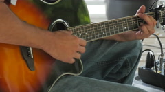 Acoustic Guitar Player Strums Six String Closeup Stock Footage