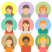 flat stylized avatars of happy smiling kids - stock illustration