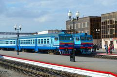 Diesel trains on ways of train station, Mogilev, Belarus - stock photo