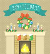Christmas fireplace home interior Stock Illustration