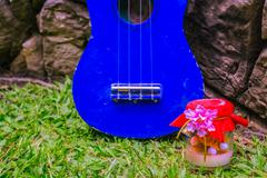 Ukulele and gifts - stock photo