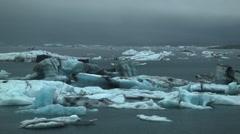 Jökulsárlón Desolate Glacier Lagoon in ICELAND Stock Footage