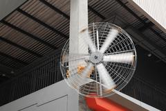 big electic fan in outdoor shopping mall - stock photo