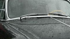 Retro car window, rainy weather. Stock Footage
