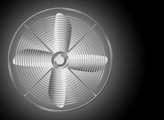 Modern realistic metallic fan on black background. - stock illustration
