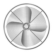 Modern realistic metallic fan isolated on white background. - stock illustration