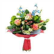 Flower bouquet from multi colored roses, iris and other flowers. - stock photo