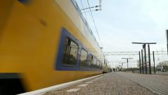 Train leaving station, low angle - stock footage
