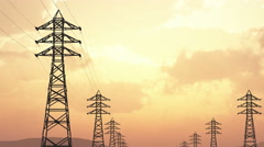 4K High Voltage Electric Poles System in the Sunset Sunrise 3D Animation 13 f Stock Footage
