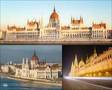The beauty panorama of attractions Budapest. Stock Photos