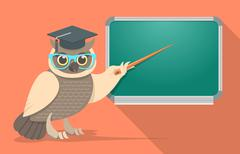 Wise owl with glasses at school board Stock Illustration