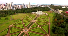 Aerial image of the Botanical Garden of Curitiba - Paraná Stock Footage