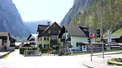 Houses and buildings of Hallstatt - architecture Austria Stock Footage