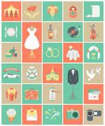 Flat square wedding icons Stock Illustration