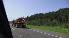 Redwood logs going to the lumberyard Stock Footage