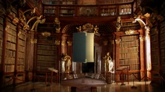 Old Books in library animation opening transition intro Stock Footage