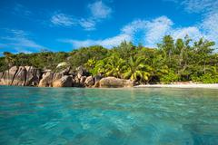 Tropical island beach Anse Lazio, Praslin, Seychelles - stock photo
