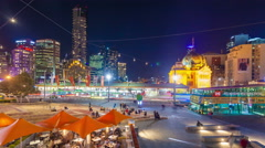4k timelapse video of downtown Melbourne at night Arkistovideo