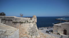 Fort and Mediterranean sea, Crete Greece, long shot Stock Footage