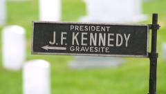 Rack Focus onto the JFK Memorial Sign Stock Footage