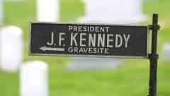 JFK Memorial Sign at Arlington National Cemetery Stock Footage