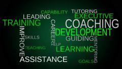 Coaching, development, training tag word cloud - green background - stock footage