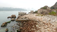 Ruins of stone loading ramps for the former stone quarries in Lei Yue Mun Stock Footage