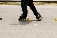 Slalom with Inline skates Stock Photos