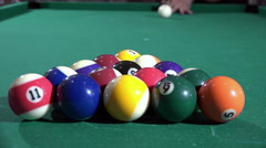 Billiard, pool table, slow motion, blow cue, balls spread 04/15 Stock Footage