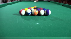 Billiard, pool table, slow motion, blow cue, balls spread 05/15 Stock Footage