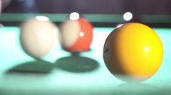 Billiard, pool table, slow motion, the white ball hits the yellow ball 06/15 Stock Footage