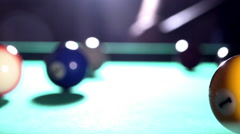 Billiard, pool table, slow motion, the white ball hits the yellow ball 07/15 Stock Footage