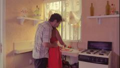 Couple on homey kitchen - stock footage