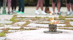 Close Up of the Eternal Flame at the JFK Memorial Stock Footage