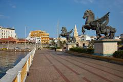 Pegasus Statues in Cartagena Stock Photos