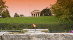 Dramatic Shot of JFK Memorial Eternal Flame & the Arlington House Stock Footage