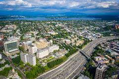 Stock Photo of View of I-5 and Lake Washington, in Seattle, Washington.