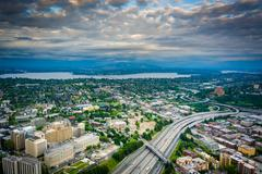 View of I-5 and Lake Washington, in Seattle, Washington. - stock photo
