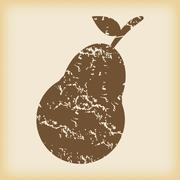 Grungy pear icon - stock illustration
