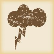 Grungy thunderstorm icon - stock illustration